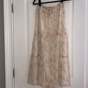 NWT Margaret O'Leary Floral tiered maxi skirt M